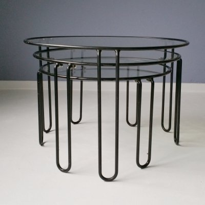 Metal & Glass Nesting Tables, 1970s