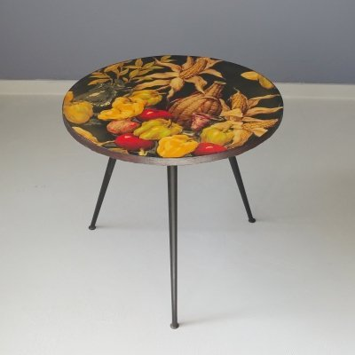 French Occassional Table with Vegetables Print, 1950s