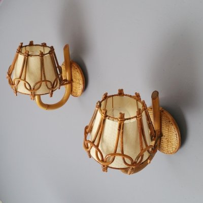 Pair of French Rattan Wall Sconces, 1950s