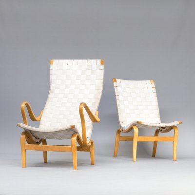 Pair of Bruno Mathsson 'Pernilla' chairs for Karl Mathsson, 1970s