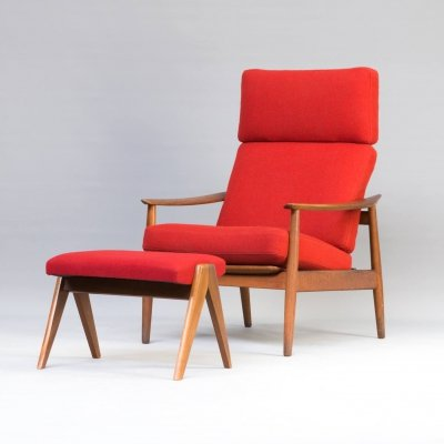 Arne Vodder FD164 chair & ottoman for France & Søn, 1960s