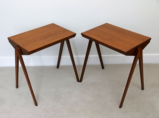Pair of Mid Century Scandinavian Influence Side Tables or Night Stands
