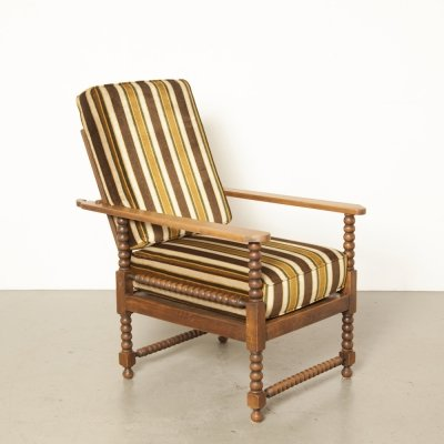 Ornate oak smokers chair / armchair