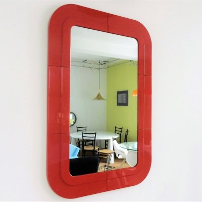 Rare vintage mirror with red plastic frame by Anna Castelli for Kartell, Italy