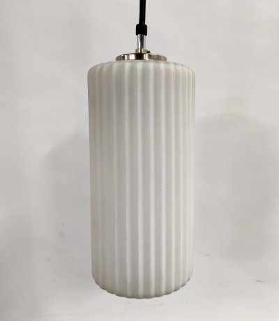 Scandinavian Chrome & Milk Glass Pendant Light, 1960s
