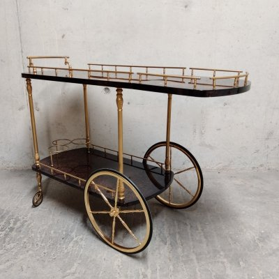 Italian Lacquered Goatskin / Parchment Serving Bar Cart by Aldo Tura, 1960s