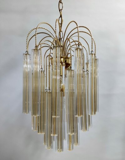Midcentury White & Yellow Crystal Chandelier by Paolo Venini