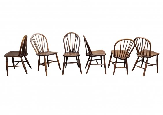 Set of 6 Unique Vintage Solid Wooden Ercol Dining Chairs by Lucian Ercolani