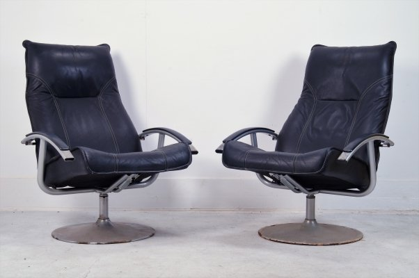Pair of Raw industrial leather recliners by Habitat, 1970s