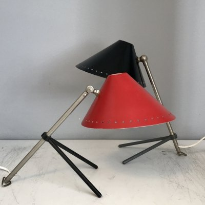 2 x Pinocchio desk lamp by H. Busquet for Hala Zeist, 1950s