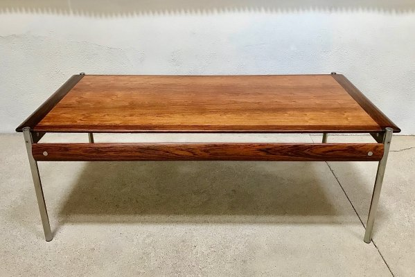 Large Solid Rosewood & Chrome Coffee Table by Sven Ivar Dysthe for Dokka, 1960s