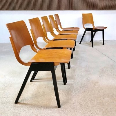 Set of 6 'P7' Plywood Dining Chairs by Roland Rainer for E. & A. Pollak, 1950s