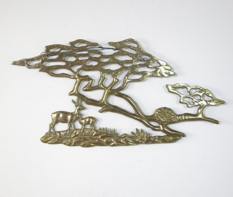Brass tree wall sculpture by Bijan, Italy 1980s