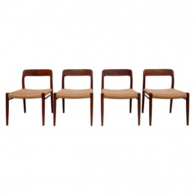 Set of 4 Danish 'Model 75' weaving dining chairs by Niels O. Møller, 1960s