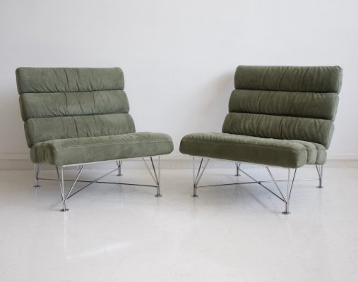 Pair of Green 'Spider' Lounge Chairs by DUX, 1980s