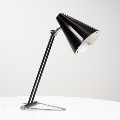 Black 'Sun series / zonneserie' Desk table light by H. Busquet for Hala, 1955