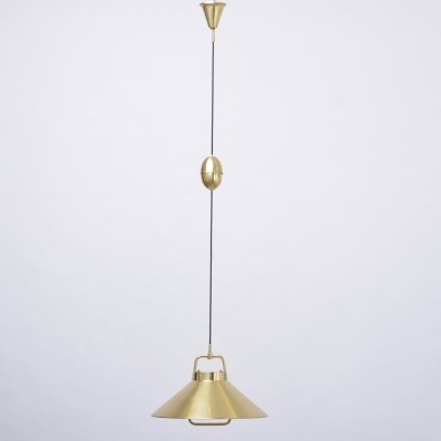 Vintage 1960s Danish Brass Pendant Light by Frits Schleger for Lyfa