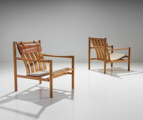 Pair of Handmade Oak Lounge Chairs by Jørgen Nilsson, Denmark 1964