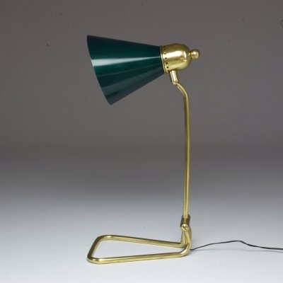 French Vintage Brass Table Lamp by Robert Mathieu, 1950s