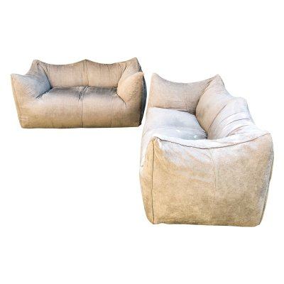 Pair of Mario Bellini Taupe 'Le Bambole' 2 Seater Sofas for B&B Italia, 1976