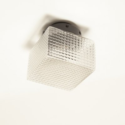 Square waffle glass ceiling or wall lamp