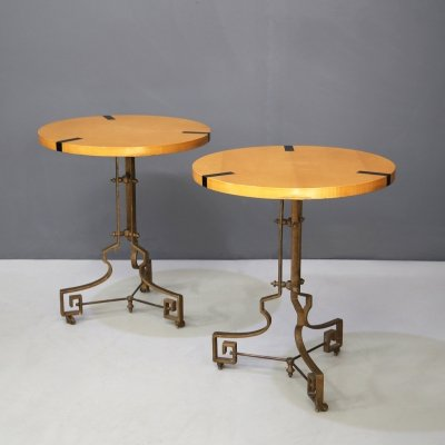 Pair of Midcentury Gueridon in brass & wood, 1960s