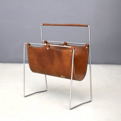 MidCentury Magazine Holder in leather & steel by Carl Auböck, 1950's