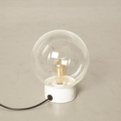 Cealing lamp with Clear Hand-Blown Glass Globe on White Porcelain base