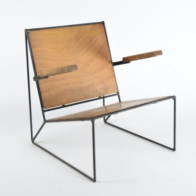 Unique custom made Minimalist low chair, Belgium 1950s