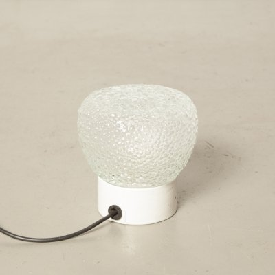 Ceiling lamp with Clear Champagne Bubble Textured Shade on White Porcelain base