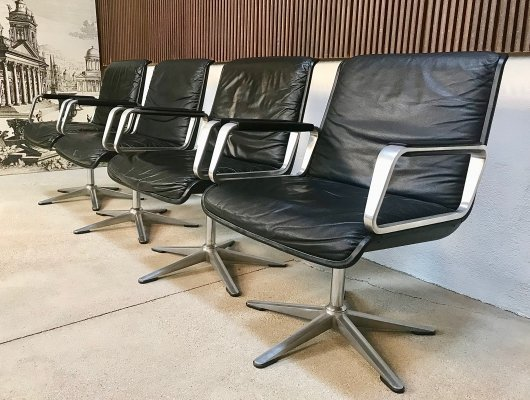 Set of 4 German Program 2000 Leather Chairs by Delta Design for Wilkahn, 1960s