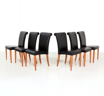 Set of 6 Vittoria dining chairs by Poltrona Frau, 1990s