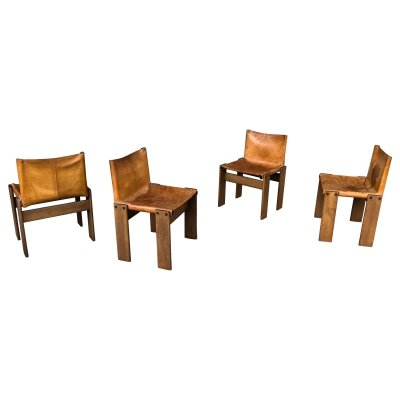 Set of 4 Afra & Tobia Scarpa Midcentury 'Monk' Dining Chairs for Molteni, 1973