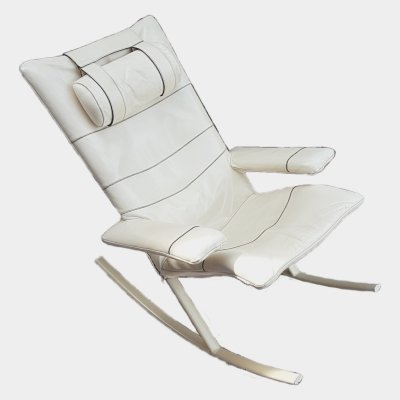 Steel & leather post modern rocking chair by Jori, 1960s