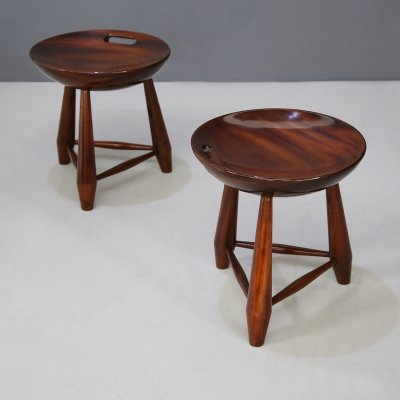 Pair of wooden 'Mocho' stools by Sergio Rodrigues, 1950s