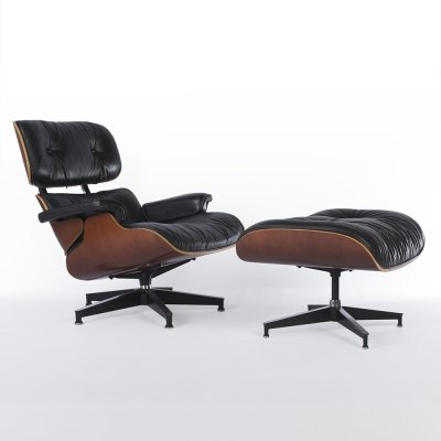 Black & Cherry Eames lounge chair & ottoman by Herman Miller, 1980s