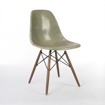 Vintage Raw Umber Herman Miller Original Eames DSW Side Shell Chair