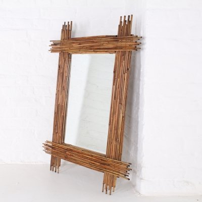 Rectangular bevelled bamboo mirror