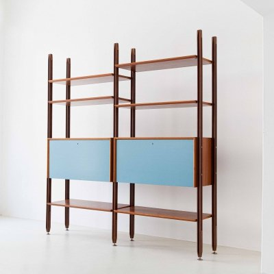 1960s Teak Modular Bookshelf with Light Blue Doors