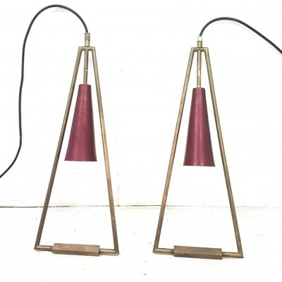 Triangle shaped minimalist pendant lamp, 1960s