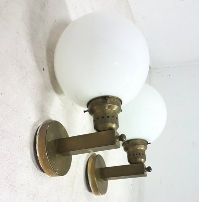 2 x Brass art deco wall lamp with an opaline sphere, 1930s