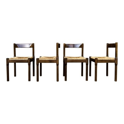 Set of 4 Vico Magistretti Midcentury 'Carimate' Dining Chairs for Cassina, 1963