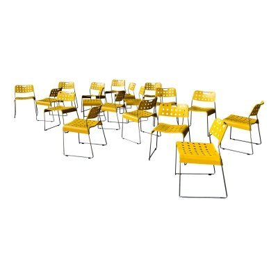 Rodney Kinsman Space Age Yellow Omstak Chairs for Bieffeplast, 1971