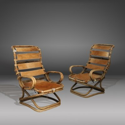 Pair of armchairs in rattan & horse skin by Tito Agnoli for Bonacina, 1950s