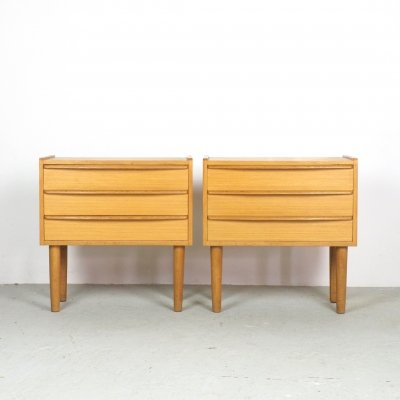 Set of 2 oak nightstands or chest of drawers, Denmark 1960's