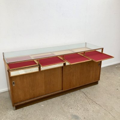 Vintage oak jewelers counter, 1950s