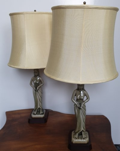 Pair of Phaisan Karnchang Art Deco style Celadon ceramic table lamps with half naked ladies
