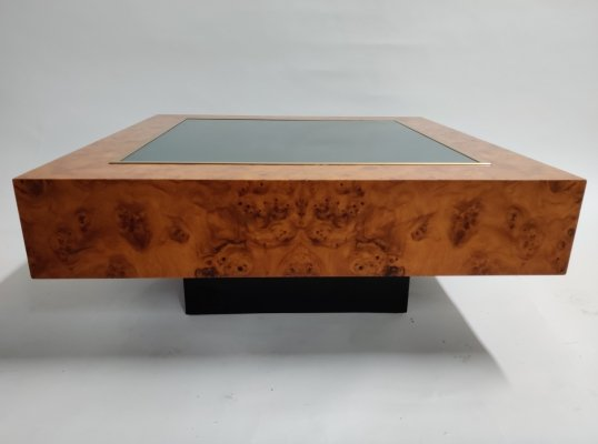 Vintage Pierre Cardin Brass, Glass & Burl Wood Coffee Table, France 1970's