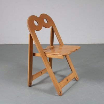 Unique wooden folding chair, Italy 1970s