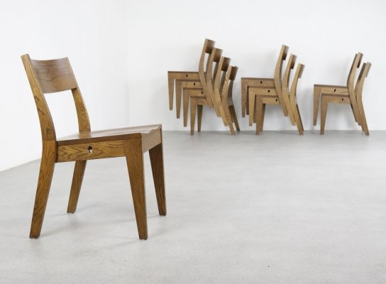 Minimalist stacking chairs in solid patinated oak, 1960/1970